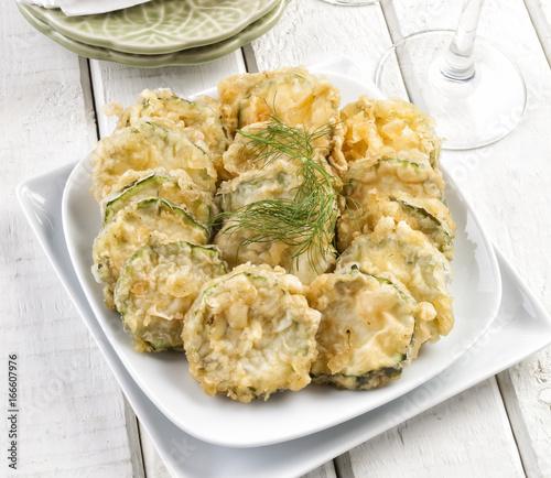 Zucchini slices in tempura
