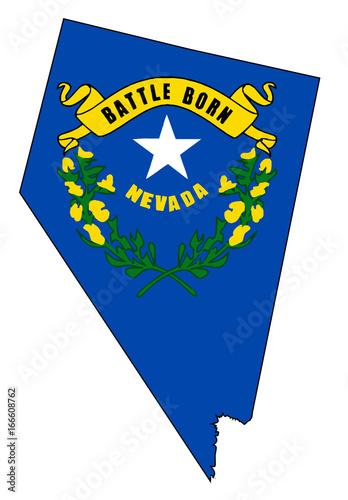 Fotografie, Obraz Nevada Outline Map and Flag
