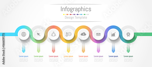 Photographie Infographic design elements for your business data with 8 options, parts, steps, timelines or processes