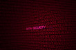 glowing red binary code on screen with words data security background concept