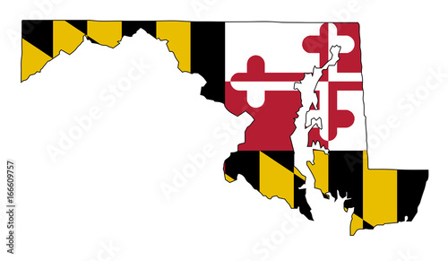 Photo  Maryland Outline Map and Flag