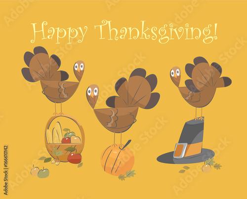 Vector illustration of happy Thanksgiving turkey Slika na platnu