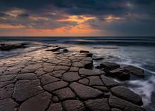 Kimmeridge Ledges At Sunset On The Jurassic Coast