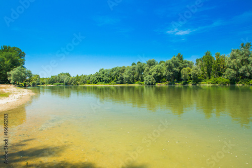 Printed kitchen splashbacks River Beautiful jungle landscape, confluence of Mura and Drava rivers in Medjimurje, Croatia