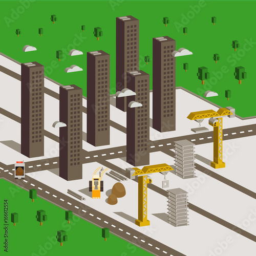 Foto op Aluminium Op straat Isometric Buildings Construction. Urban City Map Isolated Elements Isometric Industrial Building Infographic