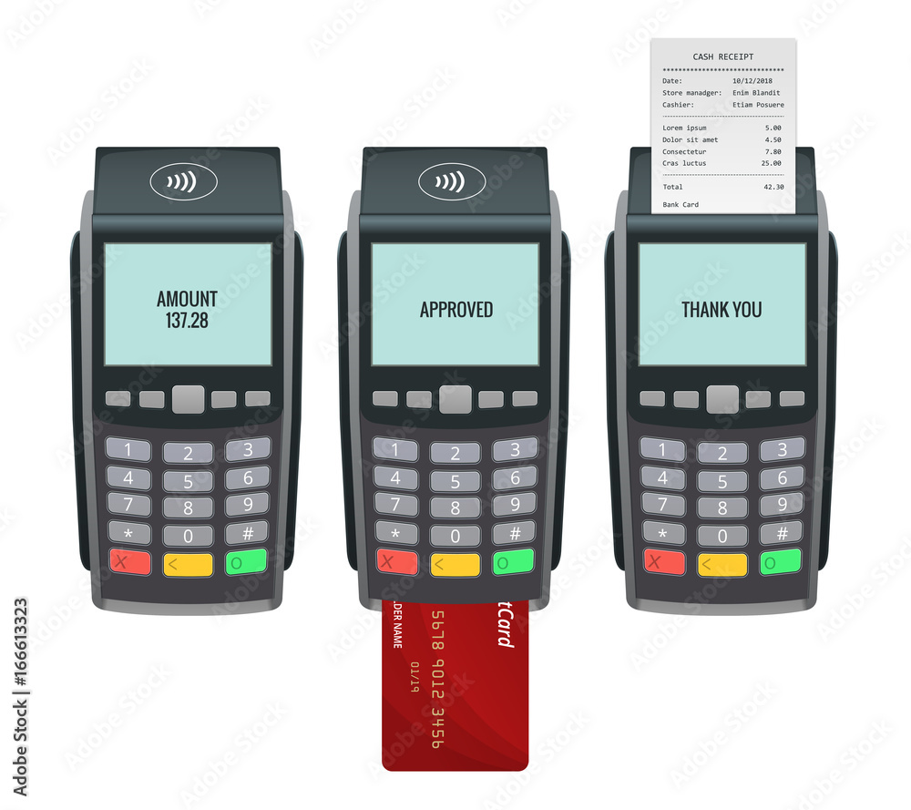 Fototapeta Vector payment machine and credit card. POS terminal confirms the payment by debit credit card, invoce. Vector illustration in flat design. NFC payments concept