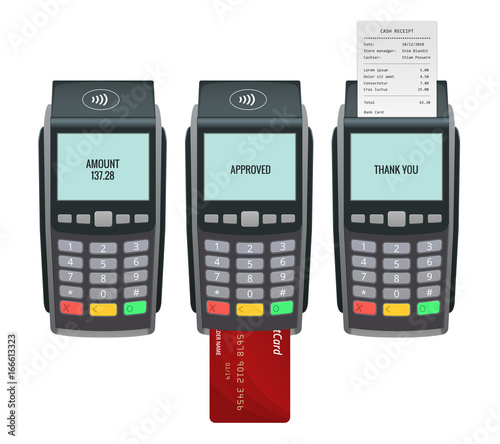Vector payment machine and credit card Canvas