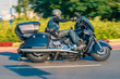 Man riding classic tourist motorbike