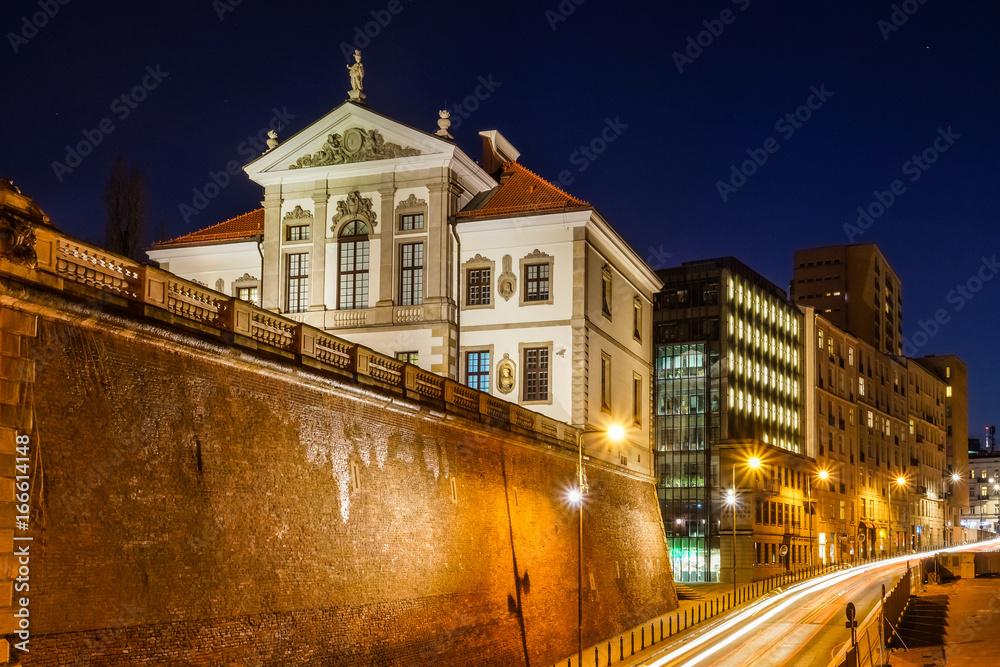 Fototapety, obrazy: Nocny widok na barokowy pałac (Muzeum Fryderyka Chopina) w Warszawie