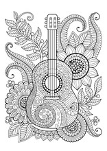 Coloring Page For Adult. Antis-tress And Relax Meditation. Guitar With Black And White Ornaments And Stylized Flowers