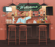 Beer bar - Restaurant. Vector banner of interior with bar counter, bar chairs and shelves with alcohol.