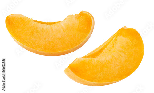 Isolated apricot. Fresh apricot fruit cut slices isolated on white background, with clipping path
