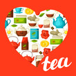 I love tea. Background with tea and accessories, packs and kettles