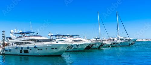 Fototapeta  Puerto Banus, Spain, June 28 2017: big luxury yachts in the harbour
