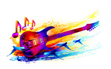 Colorful Music Background  With Electric Guitar And  Flying Birds