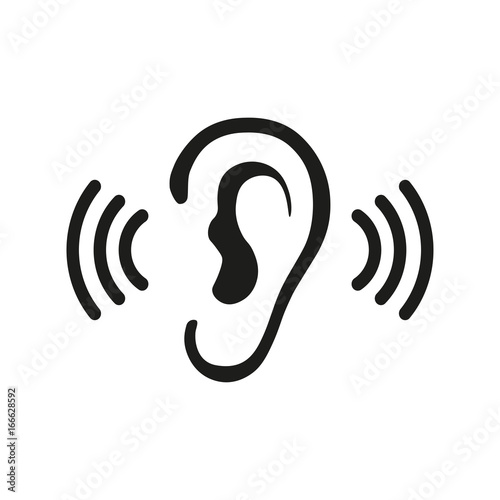 Foto Ear Listening Hearing Audio Sound Waves vector icon