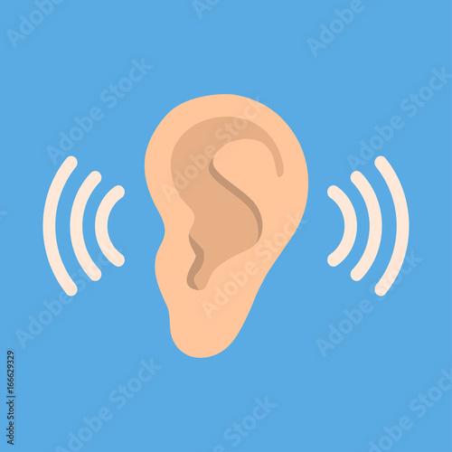 Ear listen vector icon on blue background. Ear vector icon. Listening vector icon. Wall mural
