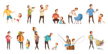 Fatherhood Retro Cartoon Icons...