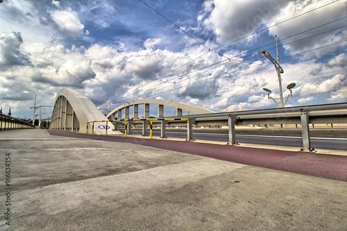 In de dag Inspirerende boodschap Saint Rocha bridge in Poznan City on Warta river - Great Poland / Greater Poland