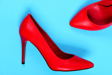 Fancy High Heel Red Shoes Isol...