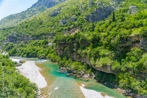 Foto op Canvas Guilin The purest waters of the turquoise color of the river Moraca flowing among the canyons. Montenegro.