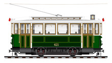 An Old Biaxial Tram Of Green Color. City Ecological Transport. Side View.