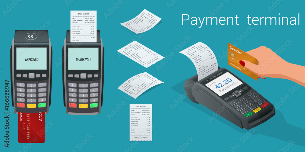 Fototapeta Vector payment machine and credit card. POS terminal confirms the payment by debit credit card, invoce. Vector illustration in flat design. NFC payments concept. Isometric NFC payments concept