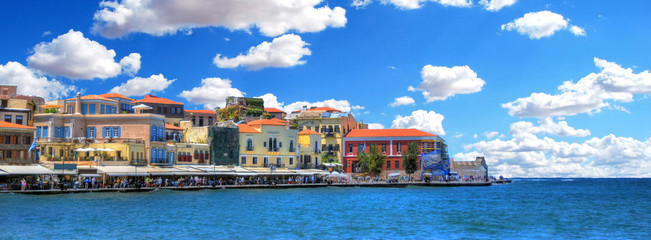 Colorful panoramic HDR image of the old Venetian Harbour of the city of Chania on clear blue sky, Crete, Greece