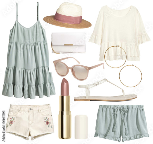 A set of fashionable clothes and accessories on a white background Wall mural
