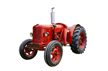 Vintage Red Tractor, Isolated ...