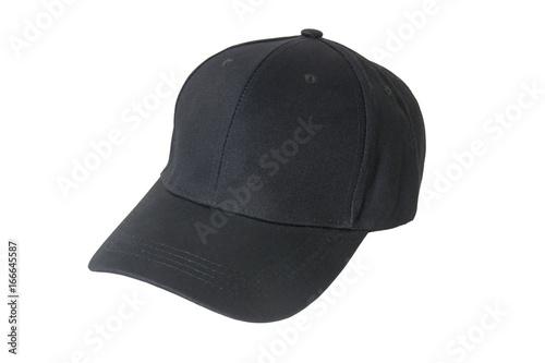 Fotografia  Baseball black cap, Isolated on white background.