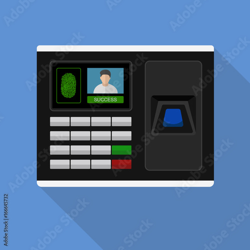 Flash Design style with long shadow the access control machine or time the atten Canvas Print