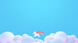 3d rendering picture of cute cartoon unicorn flying in the sky. Blank copy space for logo or holidays greeting.