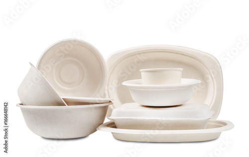 Photo Group of product made from bagasse for container food.