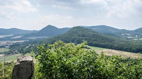 Fototapeta view from Ostry hill in Ceske stredohori mountains in Czech republic obraz