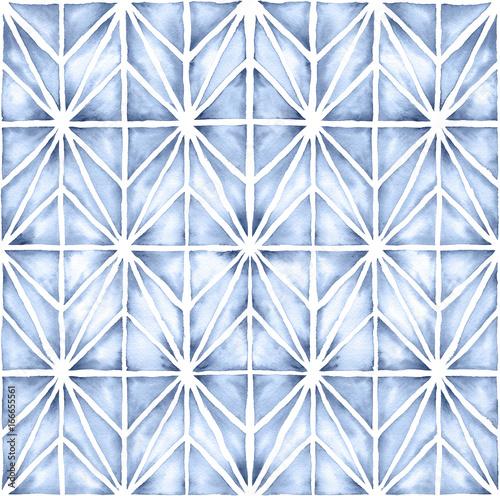 Akwarela W Stylu Shibori Ilustracja Z Nowoczesnym Wzorem Geometrycznym. Bezszwowe Powtarzanie Wzoru.
