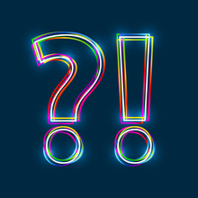 Question & Exclamation Marks. Question And Answer. Q And A - Vector Multicolored Outline Font With Glowing Effect Isolated On Blue Background. EPS10
