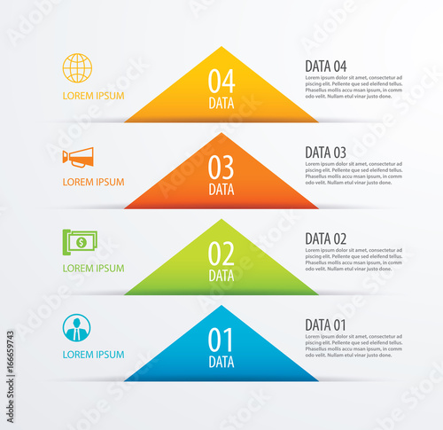 4 triangle timeline infographic options paper template with data