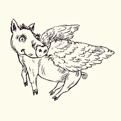 Funny piggy with lovely angel wings, hand drawn doodle, sketch in pop art style, black and white vector illustration
