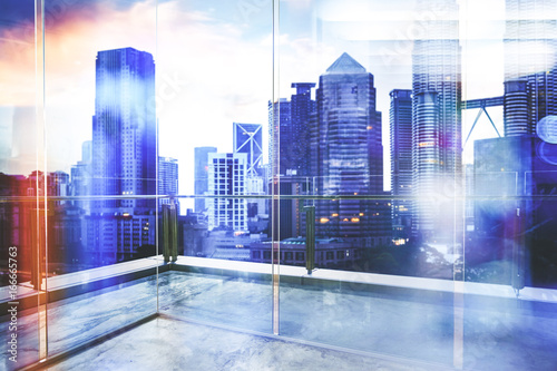 View of urban cityscape from empty business office with glass partition Poster