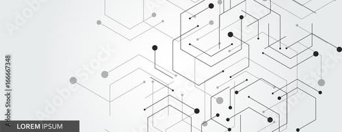 Fototapeta Vector banner design, white background with hexagon pattern obraz