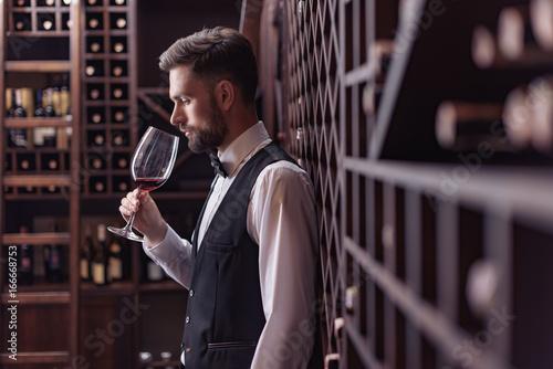Photo Sommelier tasting wine