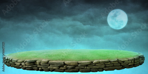 Photo Fantastic  background stone podium , the moon and the night sky for postcard or