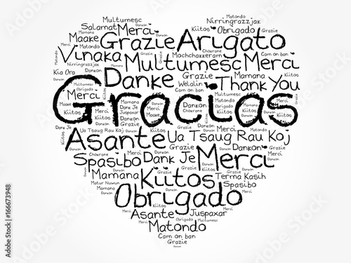 Gracias Thank You In Spanish Love Heart Word Cloud, All -8746