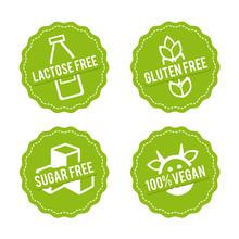 Set Of Allergen Free Badges. L...