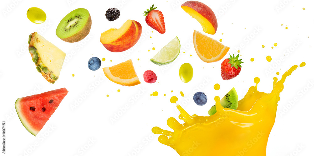 Fototapeta fruit cocktail falling into splashing yellow juice