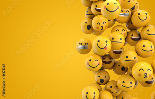 фотография Emoji emoticon character background collection. 3D Rendering