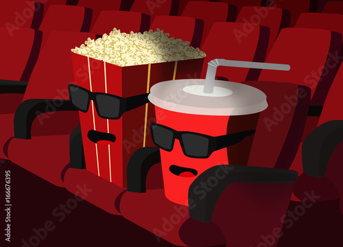 Popcorn and Cup in the cinema Fotobehang