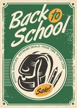 Back To School Sale Retro Advertisement With School Bag And Pencils On Old Paper Background
