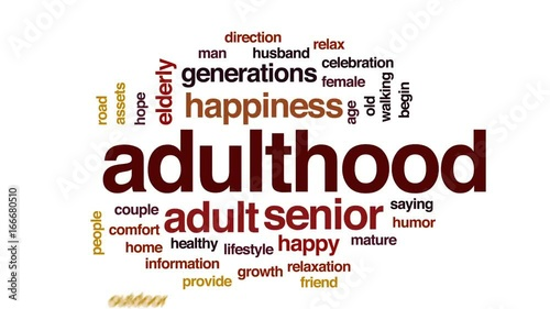 Valokuva Adulthood animated word cloud, text design animation.